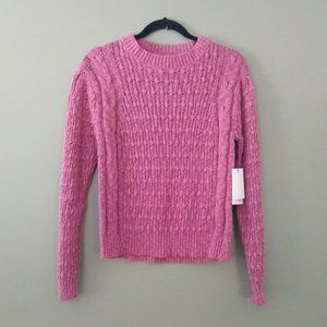 Something Navy Cable Knit Sweater Heather Pink Top